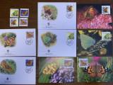 irlanda - fluturi - serie 4 timbre MNH, 4 FDC, 4 maxime, fauna