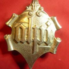 Medalie cu motiv religios catolic din Alpi ,h=9cm ,metal alb