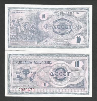 MACEDONIA  10   DINARI  DENARI   UNC   1992  [1]  P- 1 a , necirculata foto