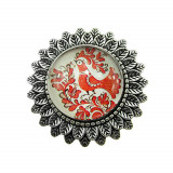 Brosa argintiu antic model folcloric cuc rosu