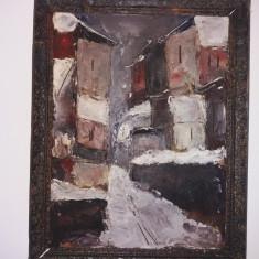 Tablou Vechi - Iarna printre blocuri - Ulei pe carton -nesemnat(37)