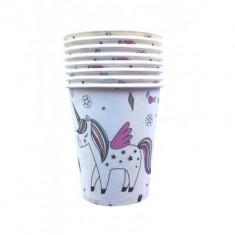 Pahare Unicorn Party din carton 260ml set 8 buc
