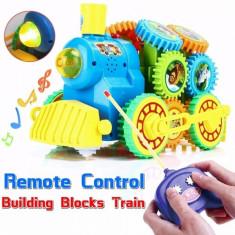 Locomotiva de jucarie cu piese modulare tip domino si telecomanda pentru copii, puzzle motorizat 9708