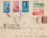 1938 Romania - Plic circulat cu seria completa Centenar Nicolae Grigorescu