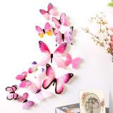 Fluturi decorativi 3D ( 12 buc/set ) roz