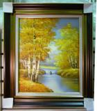 Tablou pictat manual pe panza in ulei Peisaj Natura Toamna A-082, Realism