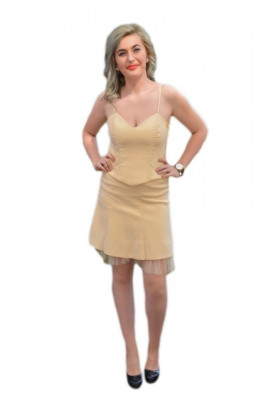 Rochie deosebita de gala de nuanta crem, formata din doua piese foto