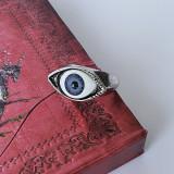 Inel Unisex Design Cu Pupila Ochi Albastra - Culoare Argintiu