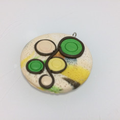 Set pandantiv si inel Fimo, realizate manual, insertii florale