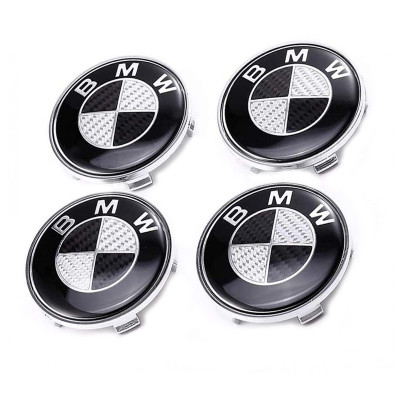 Set 4 capacele roti 68mm, pentru jante aliaj BMW,carbon negru cu gri foto