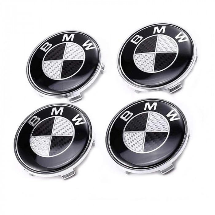 Set 4 capacele roti 68mm, pentru jante aliaj BMW,carbon negru cu gri