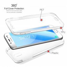 Husa silicon + plastic protectie 360° fata + spate pt Samsung Galaxy J5 2017, Alt model telefon Samsung, Transparent