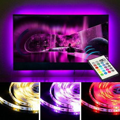 Kit banda LED pentru iluminare TV, alimentare USB, cu telecomanda, lungime 2 m foto