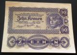 Bancnota ISTORICA 10 COROANE - AUSTRO-UNGARIA (AUSTRIA), anul 1922   *cod 630 B