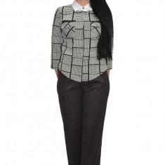 Pantalon casual cu imprimeu de catifea,nuanta neagra