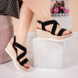 Sandale dama cu platforma negre Voisa