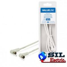 Cablu coaxial pentru antena coaxial unghi tata - coaxial mama 1.00 m alb