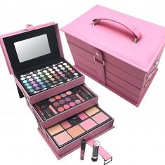 Trusa machiaj make up completa MagicColor cu geanta valiza roz rujuri farduri