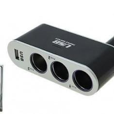 Prelungitor priza 3 cai auto si 1 USB WF005 Mall
