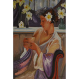 Femeie band cafea- pictura in ulei PC-119, Portrete, Realism