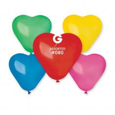 Baloane inimioare colorate 16 cm set 100 buc