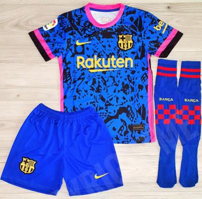Compleu Echipament fotbal pentru copii MESSI FC Barcelona noul model 2021-2022 foto