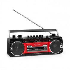 Auna Duke MKII, casetofon cu radio, BT, USB, SD, antena telescopică, roșu negru