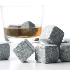 Set 9 Cuburi Whiskey Stones Refolosibile pentru Racit Whiskey sau Alte Bauturi, Culoare Granit