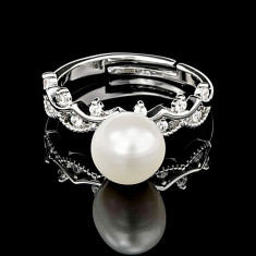 Inel din Argint 925 cu Perla Naturala si Diamante, Olive