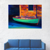 Tablou Canvas, Pictura Barca, Multicolor - 80 x 100 cm