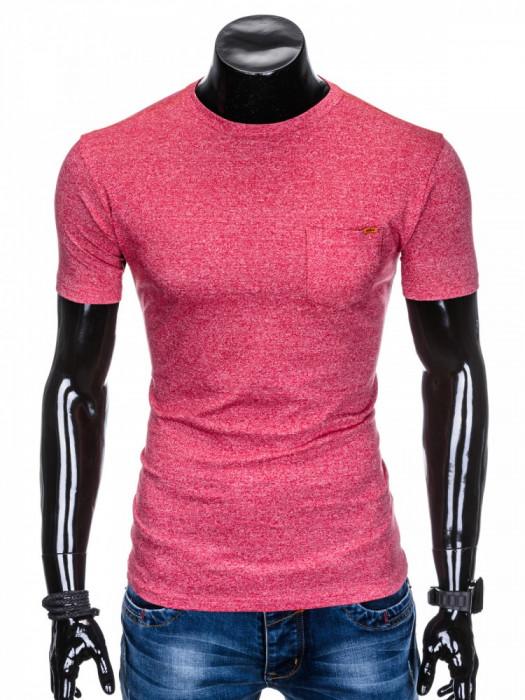 Tricou pentru barbati, rosu, buzunar piept, slim fit, mulat pe corp, bumbac - S885