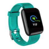 Ceas Smartwatch Techstar® D13 Verde, Ecran LCD 1.3inch, Bluetooth 4.0, Compatibil Android & iOS, Unisex, Rezistent la Apa