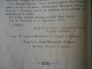SUMARELE. SFANTUL SINOD AL SFANTEI BISERICI AUTOCEFALE ORTODOXE ROMANE 1891-1892