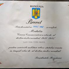 Brevet Medalia Crucea comemorativa a celui de-al doilea razboi mondial  - 1995