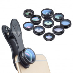 Set lentile 10 in 1 profesionale pentru telefoane si tablete Apexel DG10 - 10 in 1, prindere filet 17mm, Fisheye, Macro 15x, Wide, Telescope 2x, Kalei