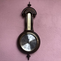 Barometru vechi german cu termometru,din lemn