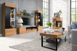 Set de mobila living din lemn si furnir, 6 piese Mosaic Stejar / Negru