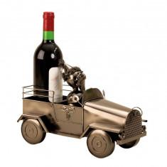 Suport pentru sticla vin din metal masina Mos Craciun h24cm l 34cm