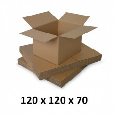 Cutie carton 120x120x70, natur, 3 straturi CO3, 435 g/mp