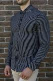 Camasa slim dungi albe  - camasa tunica camasa barbat camasa slim #198, L, S, XL, Maneca lunga