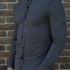Camasa alb negru - camasa slim fit camasa barbat camasa in dungi cod 198, L, S, XL, XXL, Maneca lunga, Din imagine