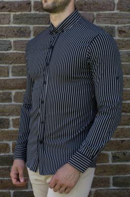 Camasa alb negru - camasa slim fit camasa barbat camasa in dungi cod 198 foto