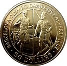 Insulele Cook 50 Dollar 1992 - Olympic Games, Argint 28.28g/925, Aoc1 KM-60 UNC