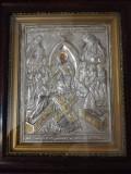 Icoană veche, interbelica, romanesca, alpaca, cu ramă dublă,  40cm x 30cm