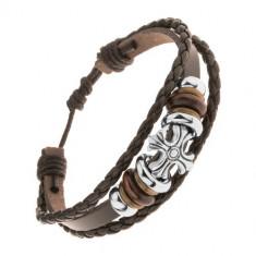 Brățară formată din trei benzi din piele sintetică, mărgele din oțel și lemn, cruce treflată