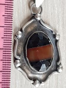 OCHI DE TIGRU  - Superb medalion pandantiv si lantisor -  argint vechi 925