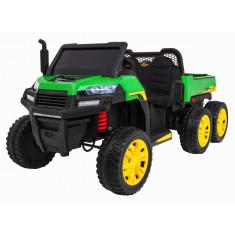 Buggy electric cu bena pentru 2 copii Premier 4x4 Hygge Truck, 6 roti cauciuc EVA, scaun piele ecologica, verde