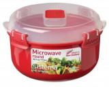 Bol din plastic rotund cu capac pentru microunde Sistema 915 ml