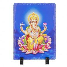 Placheta ( placa ) cu Ganesh pe floare de lotus