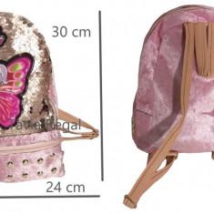 Ghiozdan tip LOL pentru fete, cu paiete revesibile 30 cm x 24cm , roze, Fata, Roz